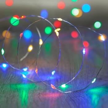 Luces LED Pila Baterias AA Series Fairy Lights Colores Multicolor 3 Mts