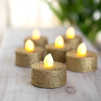Paq 6 Pzas Vela Led Luz Calida Ambar Glitter Dorado Evento Navidad