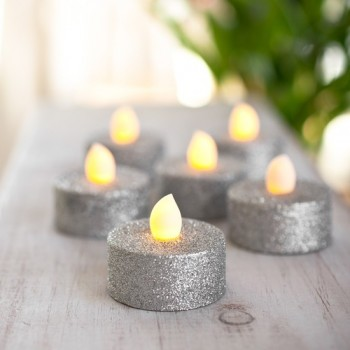 Paq 6 Pzas Vela Led Luz Calida Ambar Glitter Plata Evento Navidad