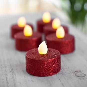 Paq 6 Pzas Vela Led Luz Calida Ambar Glitter Rojo Evento Navidad