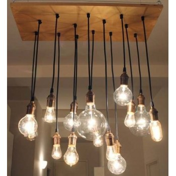Candelabro Lampara Vintage Industrial Racimo 14 Focos Edison