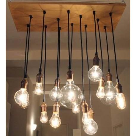 Candelabro lampara vintage industrial racimo 14 focos edison - Lampara industrial vintage ...