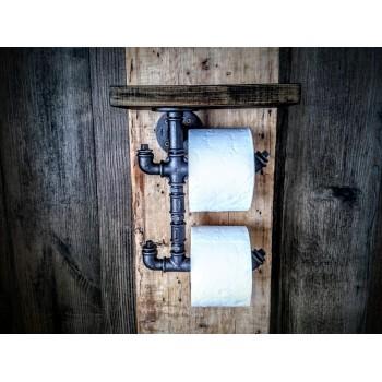 Despachador Doble Porta Papel Higienico Vintage Antiguo con Madera