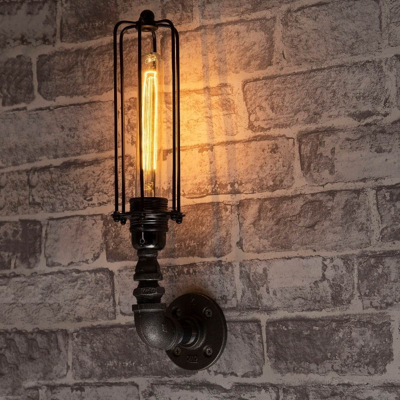 Lampara vintage industrial pipe sconce cage lined edison retro - Lampara industrial vintage ...