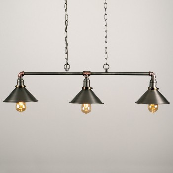 Candelabro 3 Lamparas Vintage Industrial Edison Classic Shade Chained