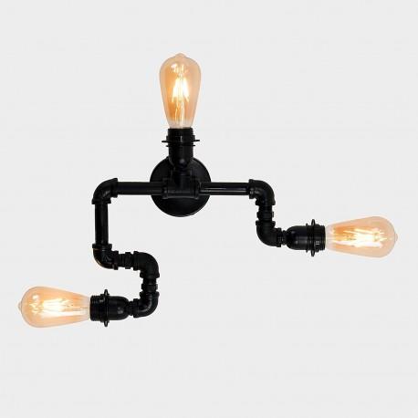 Lampara Vintage Industrial Techo Tuberia 3 Focos Edison Grupo