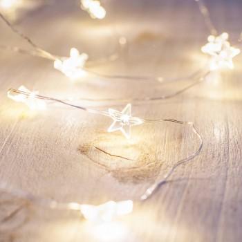 Series 20 Luces Led Stars 2 Mts Pila Fairy Lights Blanco Calido