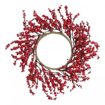 Juego 3 Coronas Navideñas Cerezas Rojas