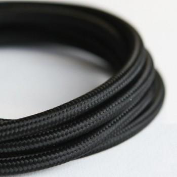 Cable Textil Eléctrico Iluminación Vintage Decorativo Retro Negro Slim