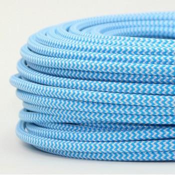 Cable Textil Vintage Eléctrico Retro Lámparas Decoración Celeste Slim