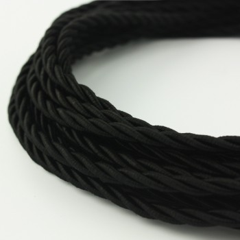 Cable Textil Twisted Rustico Negro