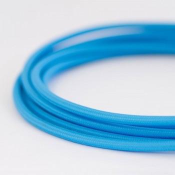 Cable Textil Eléctrico Iluminación Vintage Decorativo Azul Cielo Slim