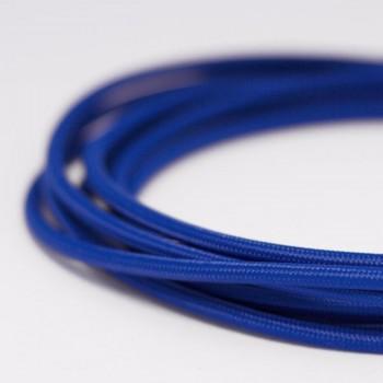 Cable Textil Eléctrico Iluminación Vintage Retro Azul Cobalto Slim