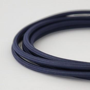 Cable Textil Eléctrico Iluminación Vintage Decorativo Azul Marino Slim