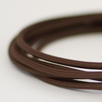 Cable Textil Eléctrico Iluminación Vintage Café Chocolate Oscuro Slim