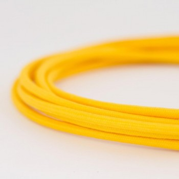 Cable Textil Eléctrico Iluminación Vintage Decorativo Amarillo Slim