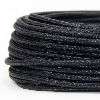 Cable Textil Glitter Negro