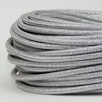 Cable Textil Glitter Plata