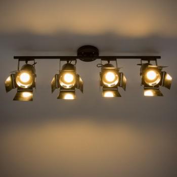 Lámpara Vintage Industrial Edison Riel 4 Proyectores Bar Restaurante