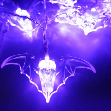 Luces LED Halloween Octubre Otoño Vampiros Murciélagos Morado Purpura