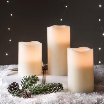 Velas Led Blanco Parpadeantes Navidad Evento Decorativas Paq 3 Pzas