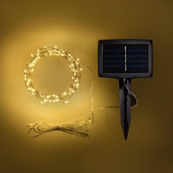 Luces de Hadas Solares Exterior Cálido Jardín Evento Navideñas 10 Mts