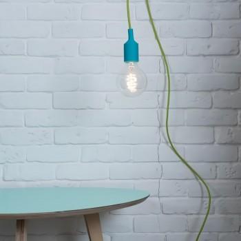 Lámpara con Enchufe Silicón Turquesa Recamara Buro Mesa Edison Vintage