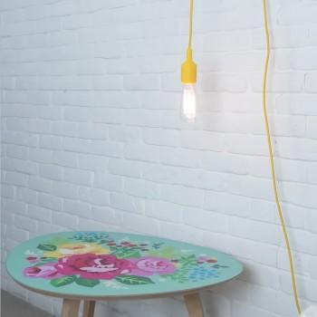 Lámpara con Enchufe Silicón Amarillo Recamara Buro Mesa Edison Vintage
