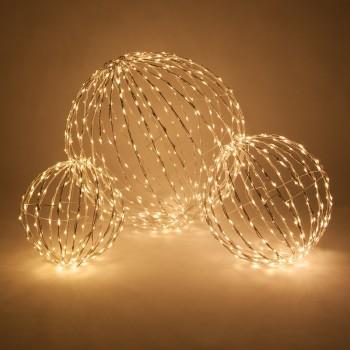 Esferas de Luces Luminosas LED Eventos Bodas Navidad Cálido Paq 3 Pzas