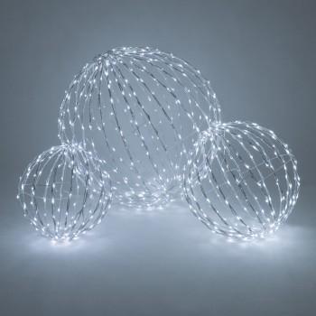 Esferas de Luces Luminosas LED Eventos Bodas Navidad Blanco Paq 3 Pzas