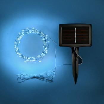 Luces de Hadas Solares Exterior Azul Jardín Evento Navideñas 10 Mts
