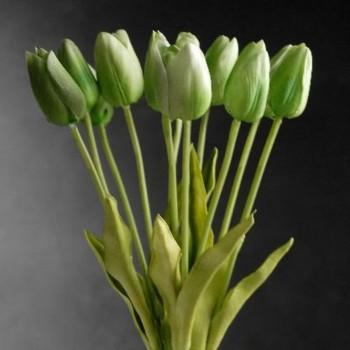 Tulipán Verde Artificial Tipo Natural Bodas Ramos Botonier Boutonniere