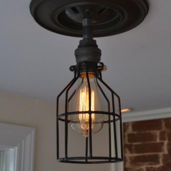Lampara Vintage Techo Industrial  Pipe Birdcage Edison