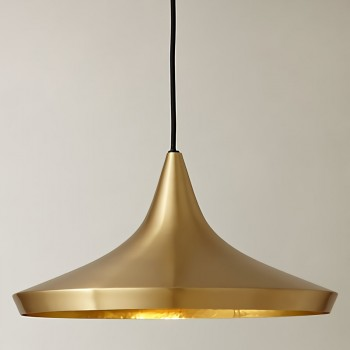 Lámpara Tom Dixon Wide Brass Beat Dorado Industrial Residencial Colgante