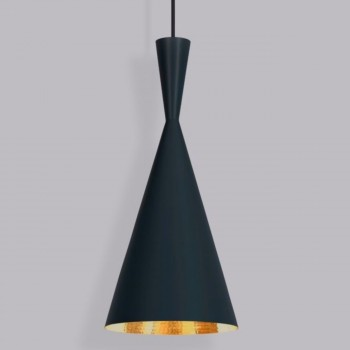 Lámpara Tom Dixon Black Beat Tall Negro Colgante Industrial Decorativa