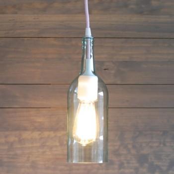 Lámpara Botella Cristal Vidrio Silicón Blanco Colgante Techo Reciclada