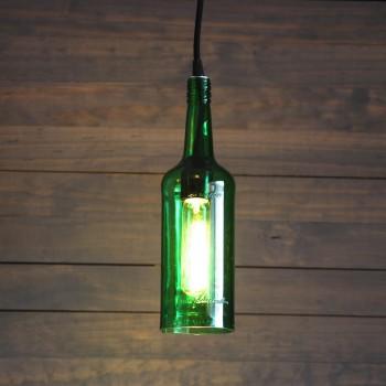 Lámpara Colgante Botella Esmeralda Vino Whisky Cerveza Tequila Mezcal