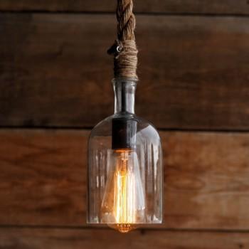 Lámpara Botella con Cuerda Soga Hecha a Mano Artesanal Vintage Rustica