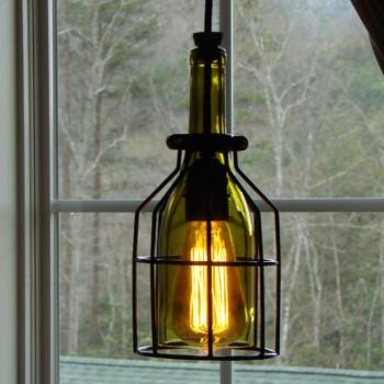 Lámpara Botella Cristal Vino Colgante Vintage Decorativa Hecha a Mano