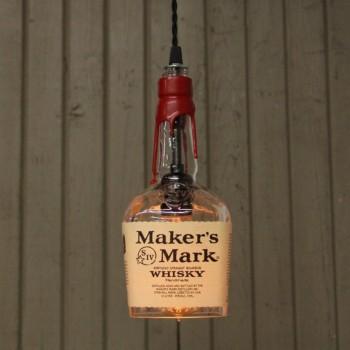 Lámpara Botella Whiskey Makers Mark Reciclada Artesanal Hecha a Mano