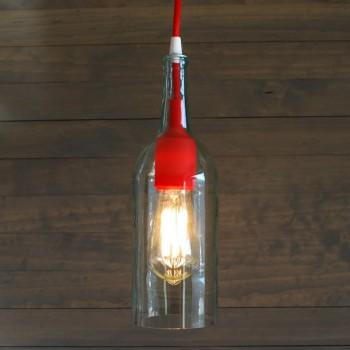 Lámpara Botella Cristal Vidrio Silicón Rojo Colgante Techo Reciclada