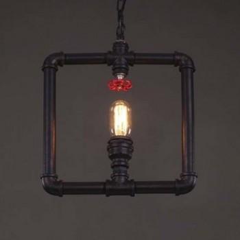 Lampara Vintage Industrial Colgante Tuberia Geometrica Llave Roja