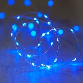 Luces LED Pila Baterias AA Series Decoración Fairy Lights Azul 3 Mts